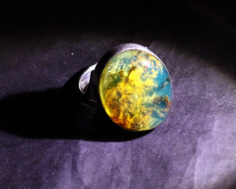 Beautiful Natural Translucent Sky Blue Amber .925 Sterling Silver Ring #7.5
