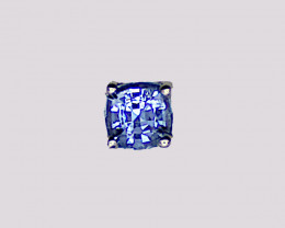 Blue Sapphire Stud Earring, 14k Yellow Gold, Cushion Cut