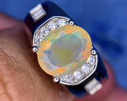 Natural faceted Opal rainbow fire Opal Gents Ring.