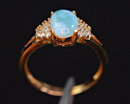 Natural Blue Larimar ,CZ 925 Silver Gold Plating Amazing Ring