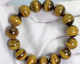 14mm brown tiger eye beads bracelet.