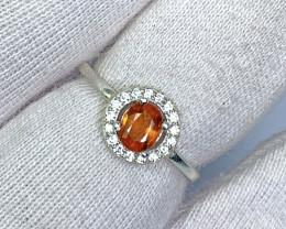 9.00 Carat Very Rare Orange Clinohumite 925 Silver Ring