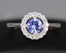 Natural Tanzanite, CZ & 925 Silver Design Ring