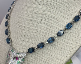Natural London Blue topaz and Ruby Necklace.