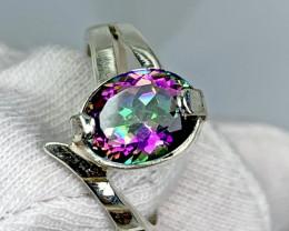 Natural Mystic Quartz 24.00 Carat Hand Made 925 Silver Ring.