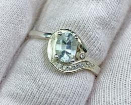 Natural sea blue Aquamarine 12.00 Carats 925 Silver Ring