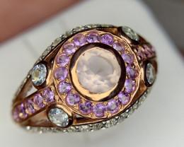 Natural Rose quartz,amethyst and topaz Ring.