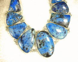 470.0 Tcw. Sterling Silver Himalayan Turquoise Necklace - Gorgeous