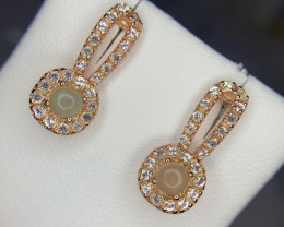 Natural Opal and white topaz Ear studs.