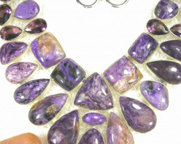 575.0 Tcw. Russian Charoite / Sterling Silver 19 Inch Necklace - Gorgeous