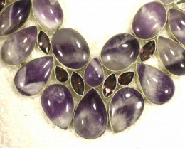 628.0 Tcw. Natural Amethyst, Sterling Sliver Necklace - Gorgeous