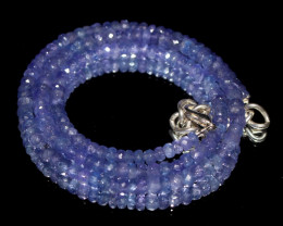 63 Crts Natural Tanzanite Faceted Beads Necklace