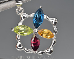 Natural Mix Stone   and 925 Silver Pendant