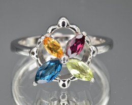 Natural Mix stone  and 925 Silver Ring