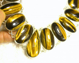 607.0 Tcw. Tiger Eye, Sterling Silver Necklace - Gorgeous