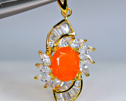 Natural Fire Orange Opal ,CZ 925 Silver Yellow Gold Plated Pendant