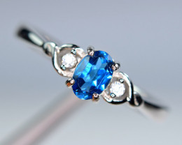 Natural AAA London Blue Topaz ,CZ 925 Silver Ring