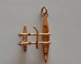9K Gold Charm   Canoe Outrigger   Code 1910029