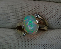 Natural White Multi Fire Opal Hand Made Silver Ring  (AD)
