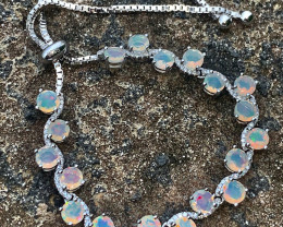 Precious Natural  faceted Opal Bracelet With CZ.