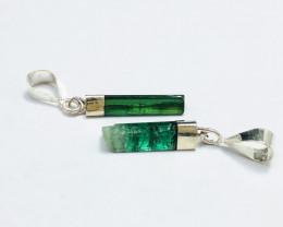 9.85 Ct Natural Green Transparent Tourmaline Crystals Pendants Pairs