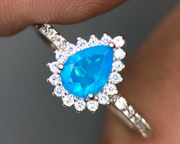 No Reserve Dazzling Blue Opal with CZ SIlver 925 Sterling RIng