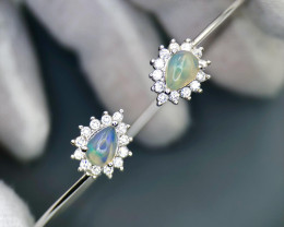 Stunning Fire Opal,CZ Silver 925 Bangle Bracelet