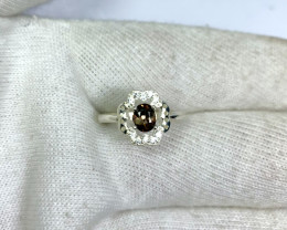 Natural 11.45 carat rare brown axinite 925 Silver Ring