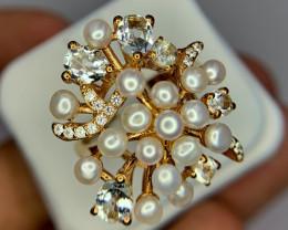 Natural aquamarine and Pearl Ring