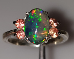 Handmade Natural Opal and sapphire Ring
