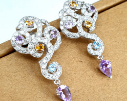 Natural multi gemstone and CZ Earrings.