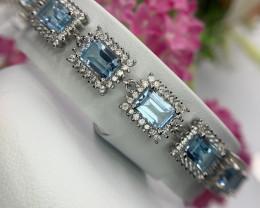 Natural Swiss blue topaz with CZ bracelet.