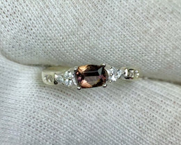 Natural 10.45 Carats multi fire axinite 925 Silver Ring.