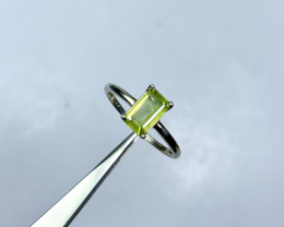 Natural 5.60 Carats green fire sphene/titanite 925 Silver Ring