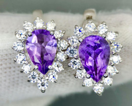 No Reserve Glooming Amethyst With CZ,SIlver 925 Ring