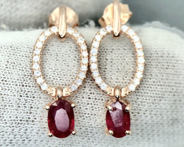 No Reserve Stunning Natural Ruby with CZ Rose Gold Earrings