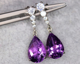 Gorgeous Natural Amethyst, CZ  & 925 Fancy Sterling  Silver Earrings