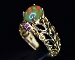 Gorgeous Natural Multi Fire Opal & 925 Yellow Fancy Sterling  Silver Ring