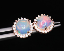 Gorgeous Natural Multi Fire Opal, CZ & 925 Rose Gold Fancy Sterling Silver