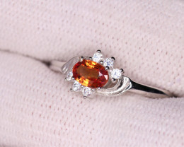 Attractive Natural Orange  Sapphire, CZ & 925 Fancy Sterling Silver