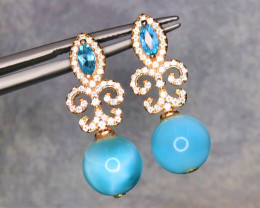 Attractive Natural Larimar, Topaz, CZ & 925 Rose Gold Stylish Sterling  Sil