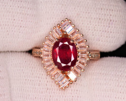 Gorgeous Natural Ruby, CZ & 925 Rose Gold Fancy Sterling Silver Ring