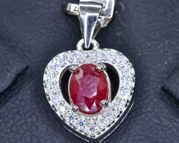 15.27 Crt Natural Ruby 925 Silver Pendant
