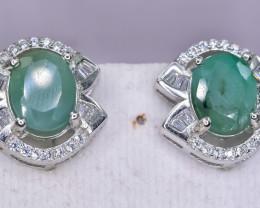 34.11 Crt Natural Emerald 925 Silver Earrings