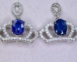 29.67 Crt Natural Sapphire 925 Silver Earrings