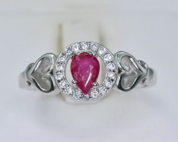 16.21 Crt Natural Ruby 925 Silver Ring