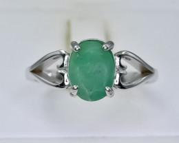 14.10 Crt Natural Emerald 925 Silver Ring