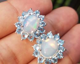 Swiss Topaz And Opal Earrings