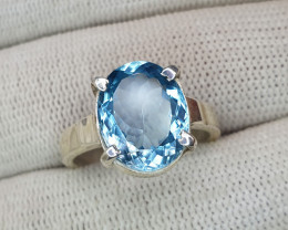 Natural Blue Topaz Hand Made Ring