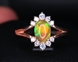 Gorgeous Natural Fire Opal, CZ & 925 Rose Gold Stylish Sterling  Silver Rin